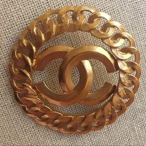 Chanel Vintage 1996 Gold CC Brooch Pin